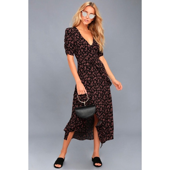 Lulu's Dresses & Skirts - 🆕 Prairie Serenade Black Floral Print Midi Dress